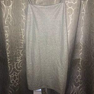 Silver Shimmer spaghetti Strap Midi Dress !